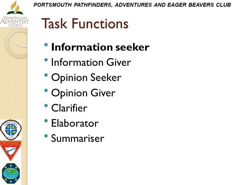 Task Functions Information seeker Information Giver Opinion Seeker