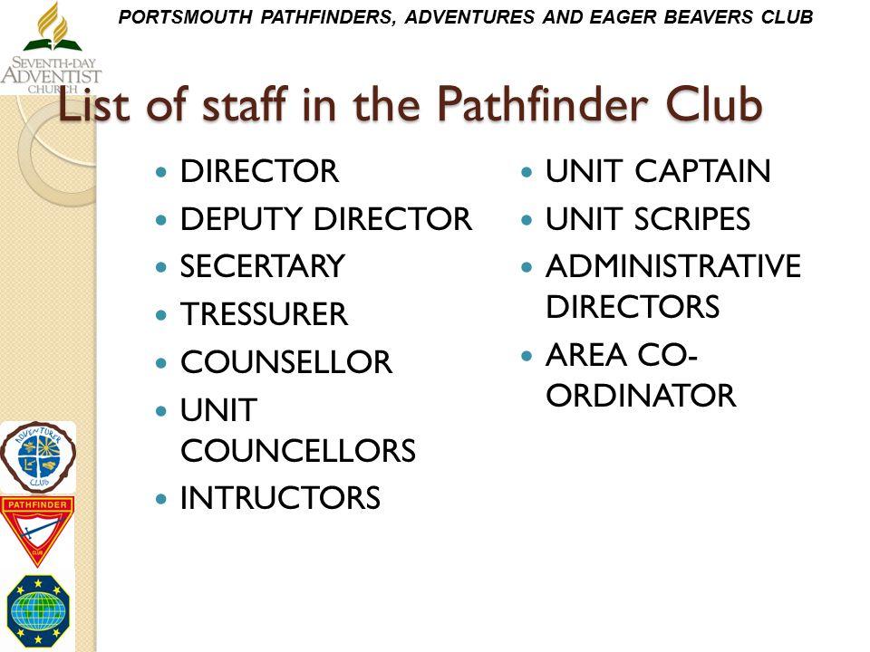 List of staff in the Pathfinder Club