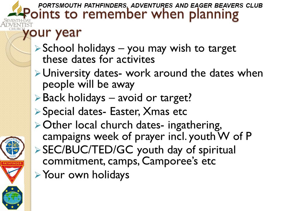 Points to remember when planning your year