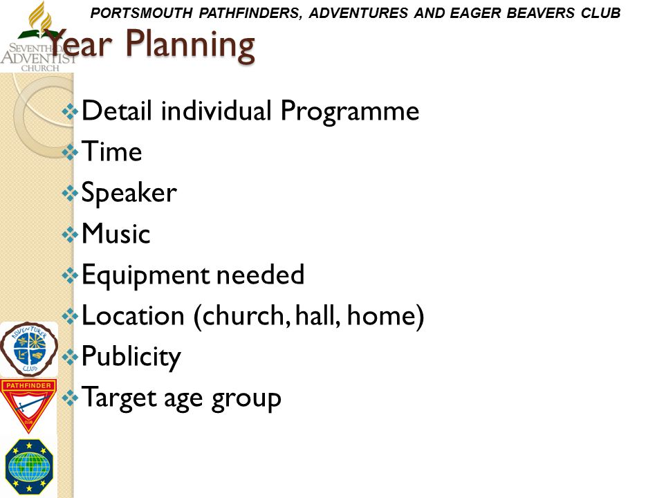 Year Planning Detail individual Programme Time Speaker Music