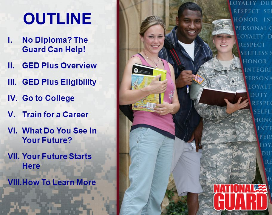 OUTLINE No Diploma The Guard Can Help! GED Plus Overview