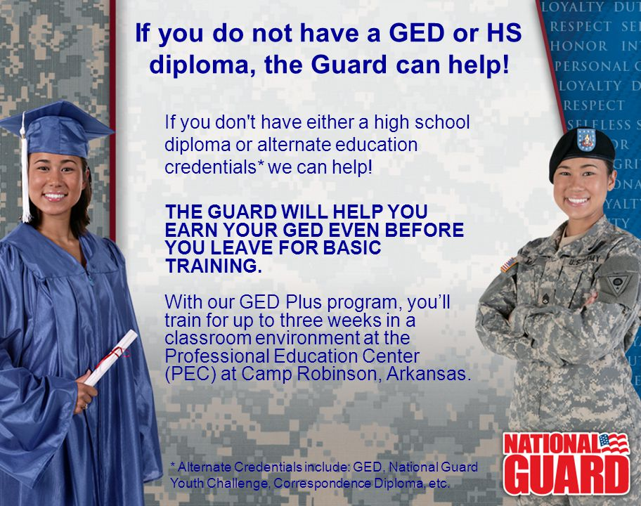 If you do not have a GED or HS diploma, the Guard can help!