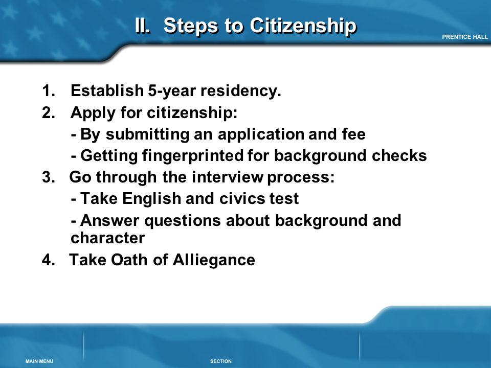 II. Steps to Citizenship
