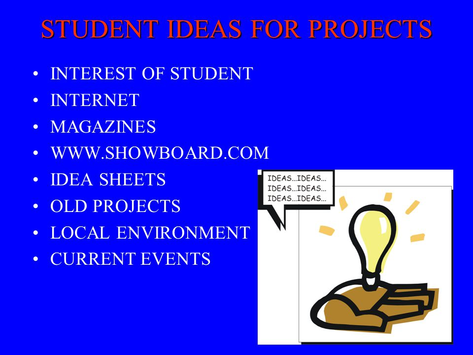 STUDENT IDEAS FOR PROJECTS