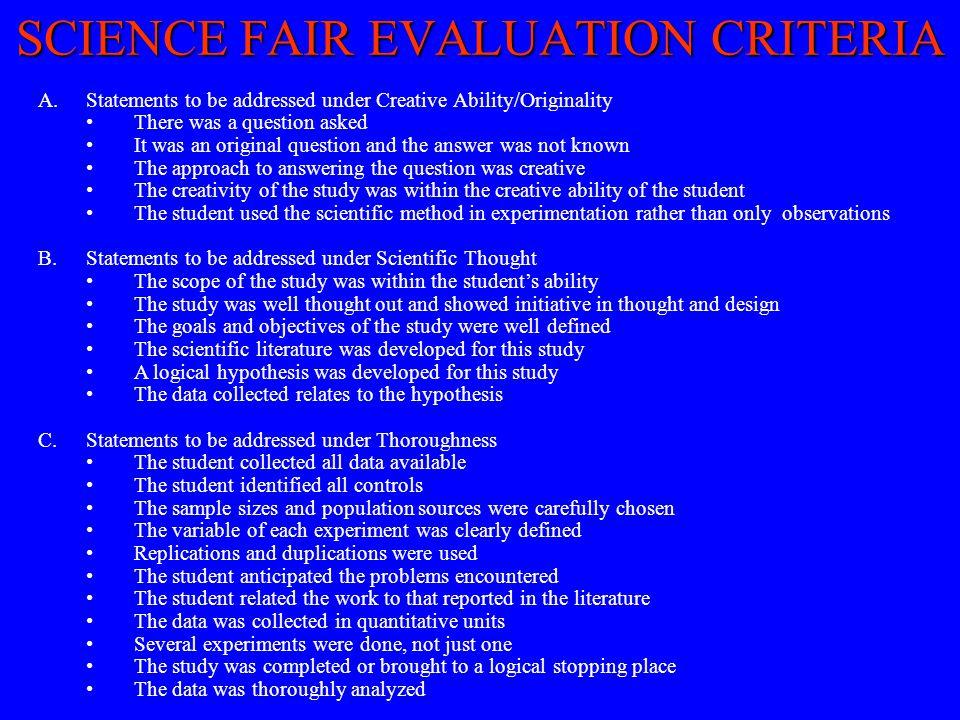 SCIENCE FAIR EVALUATION CRITERIA