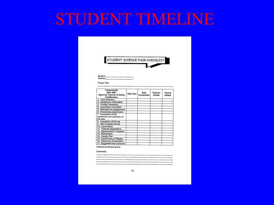 STUDENT TIMELINE Copy and distribute