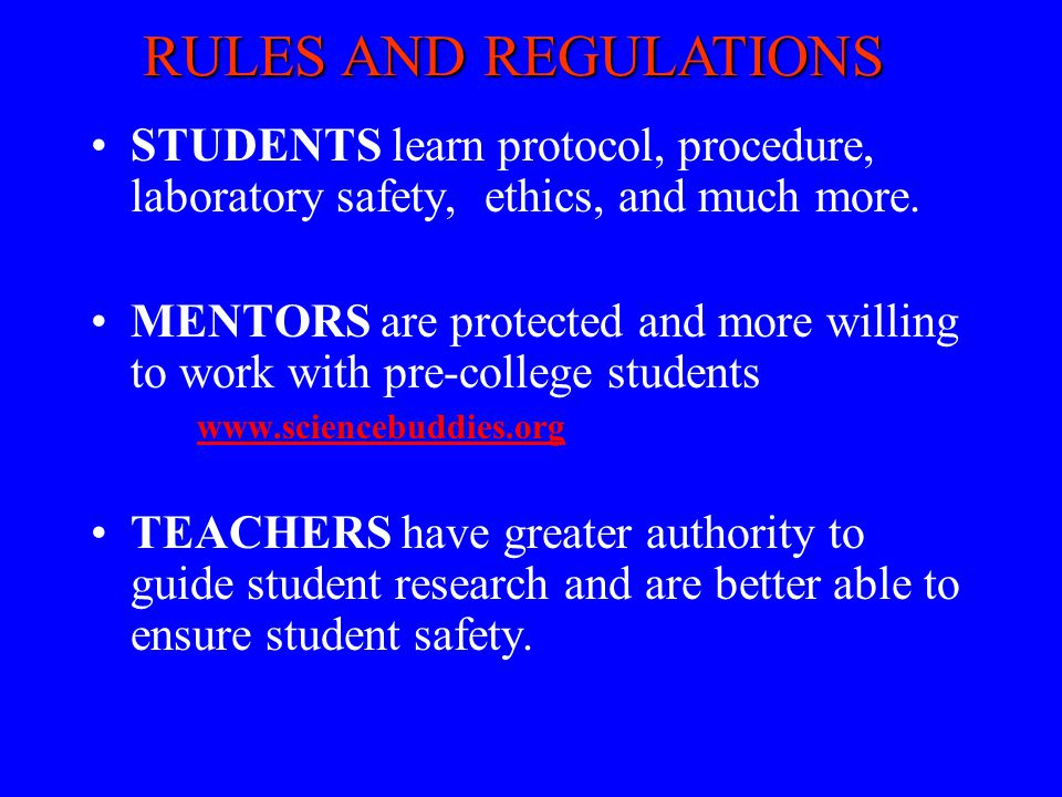 RULES AND REGULATIONS STUDENTS learn protocol, procedure, laboratory safety, ethics, and much more.