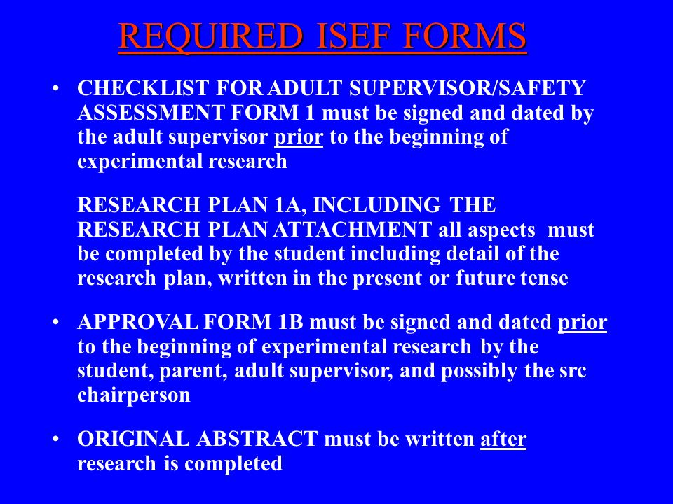REQUIRED ISEF FORMS