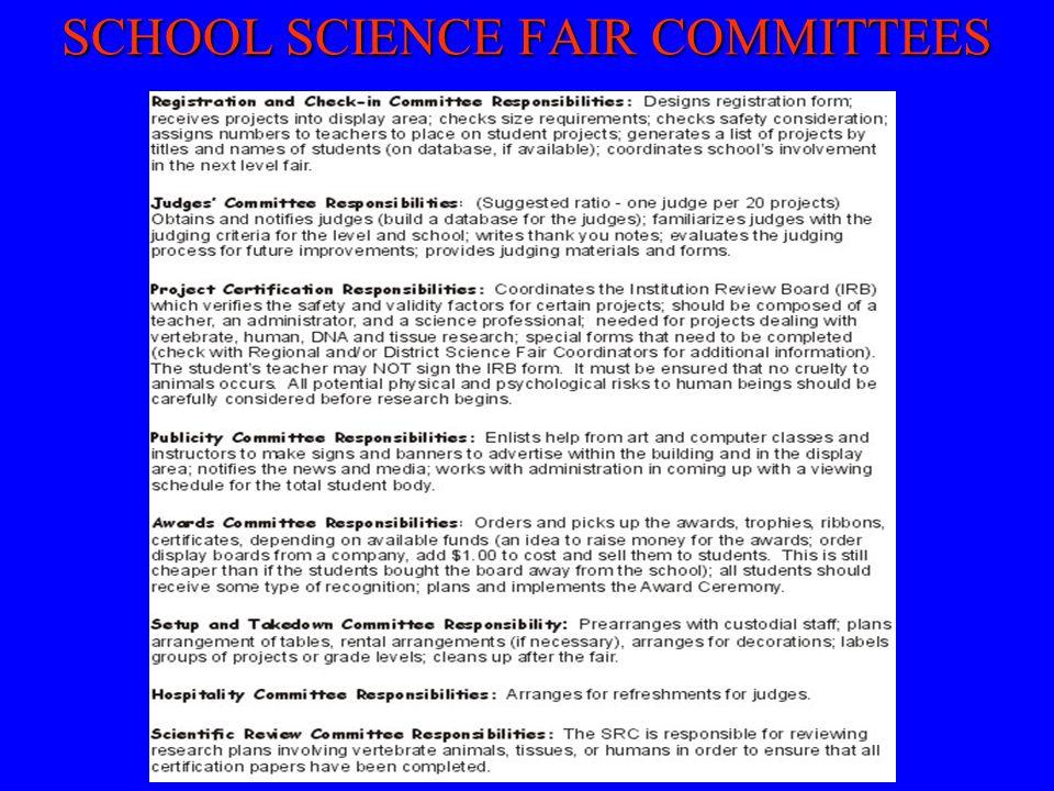 SCHOOL SCIENCE FAIR COMMITTEES