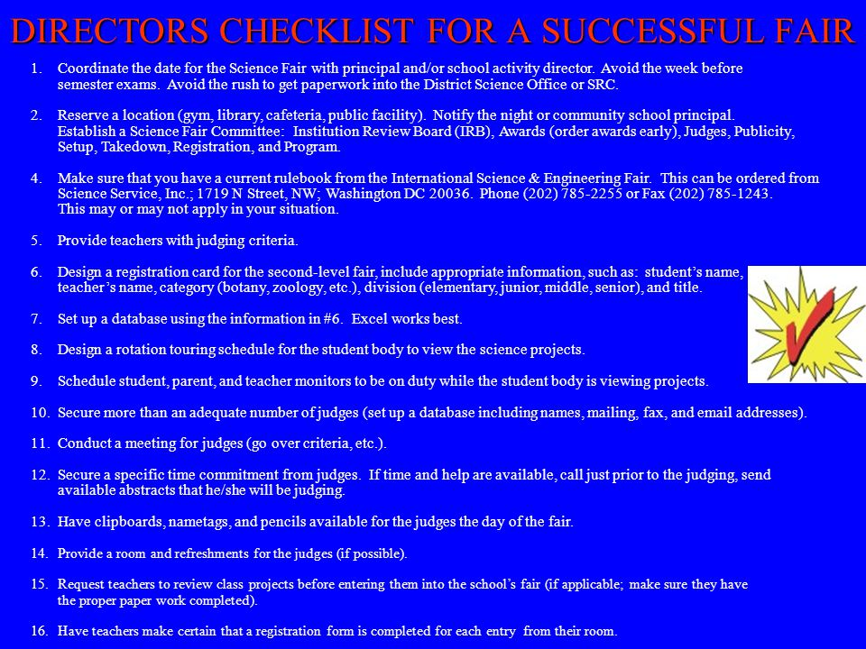 DIRECTORS CHECKLIST FOR A SUCCESSFUL FAIR