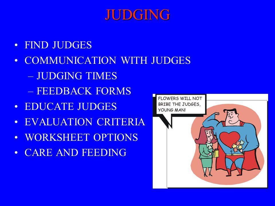 JUDGING FIND JUDGES COMMUNICATION WITH JUDGES JUDGING TIMES