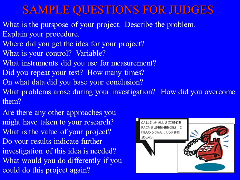 SAMPLE QUESTIONS FOR JUDGES