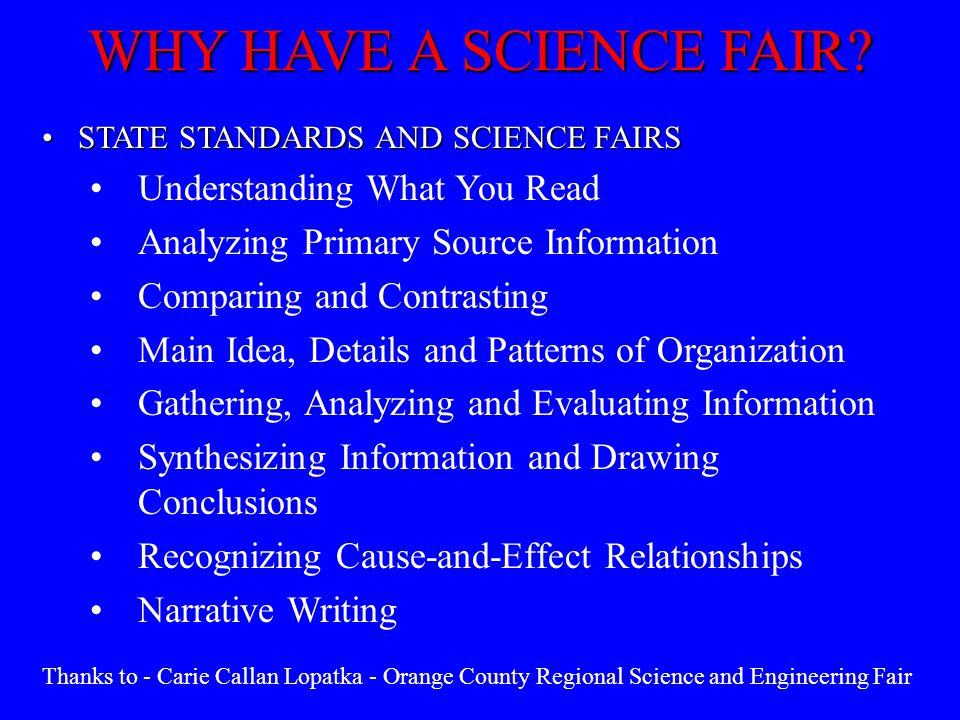 WHY HAVE A SCIENCE FAIR Understanding What You Read