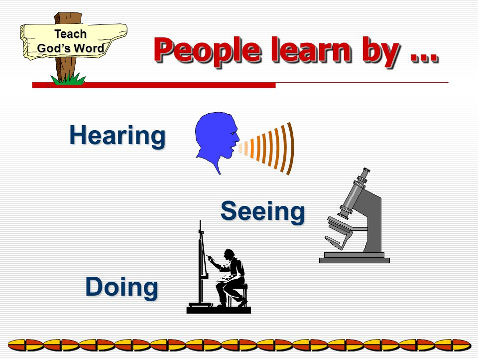 People learn by ... Hearing Seeing Doing