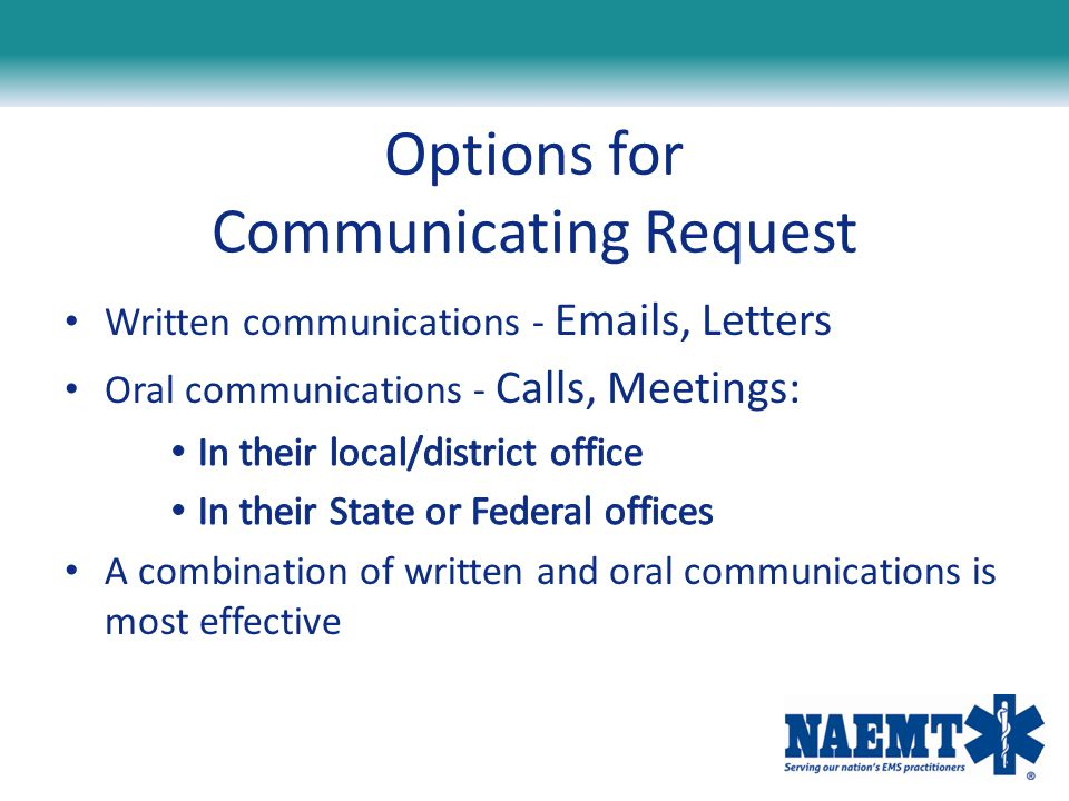 Options for Communicating Request