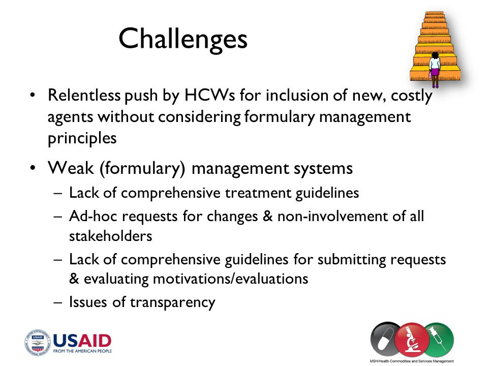 Challenges Weak (formulary) management systems