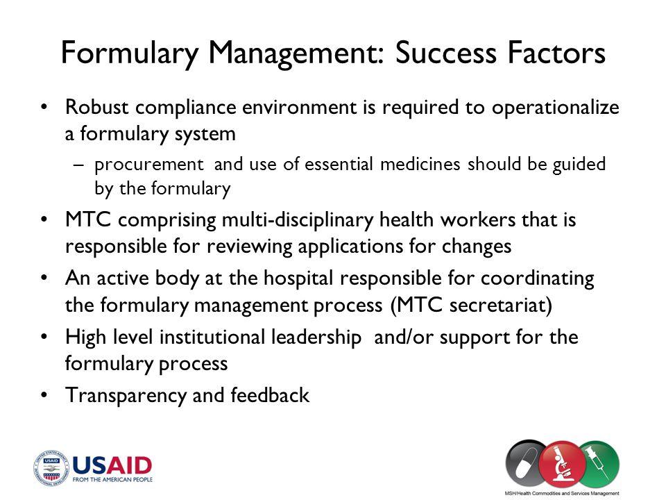 Formulary Management: Success Factors