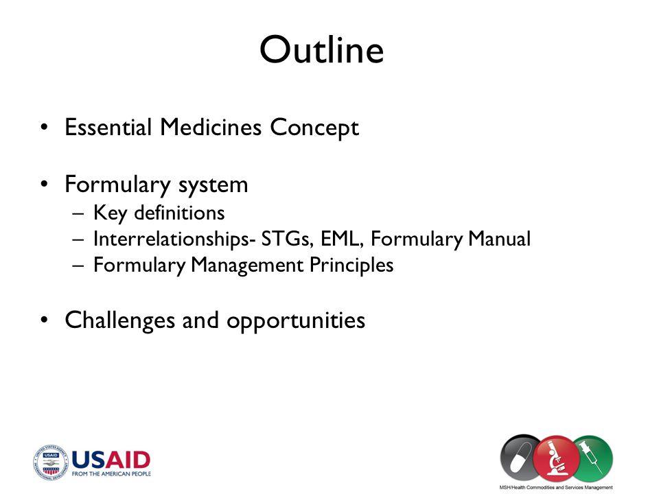 Outline Essential Medicines Concept Formulary system