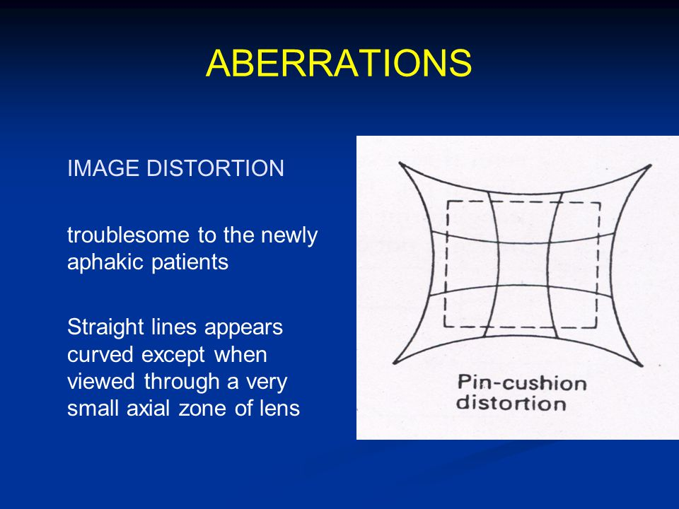 ABERRATIONS IMAGE DISTORTION troublesome to the newly aphakic patients