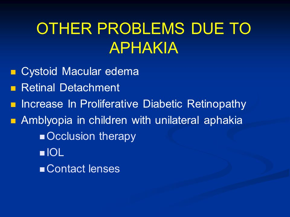 OTHER PROBLEMS DUE TO APHAKIA