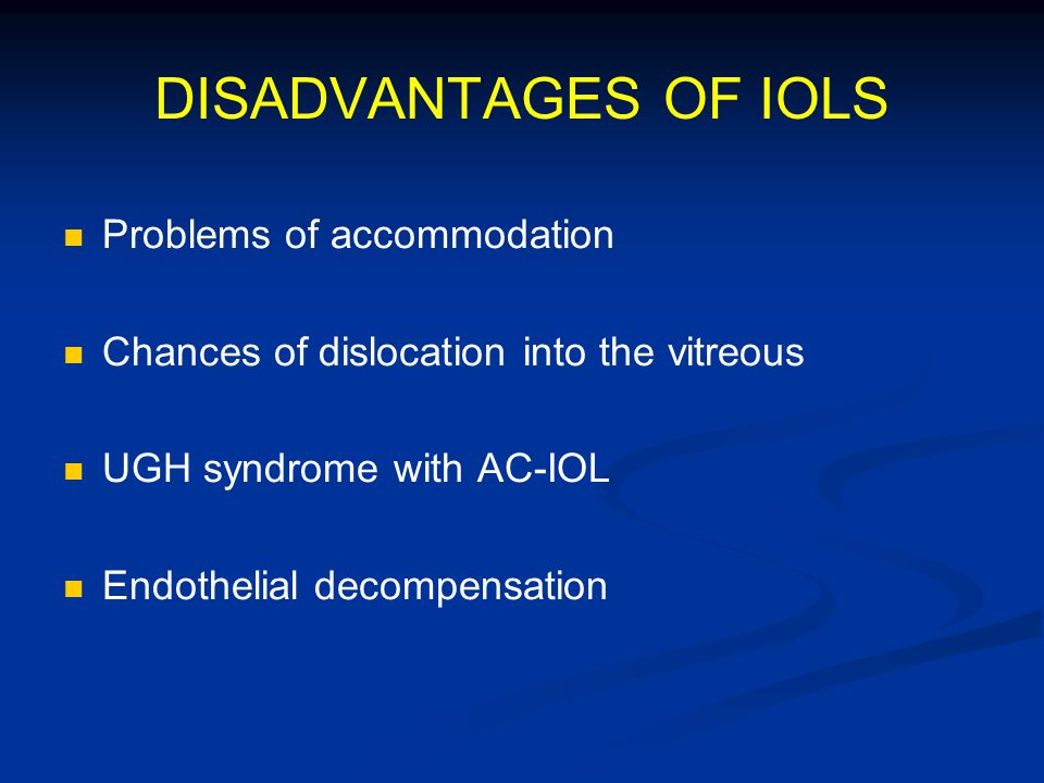 DISADVANTAGES OF IOLS Problems of accommodation