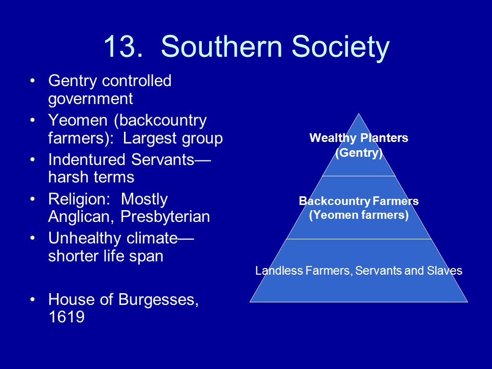 13. Southern Society Gentry controlled government
