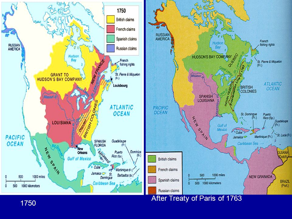 North America 1763: After Treaty of Paris of 1763 1750