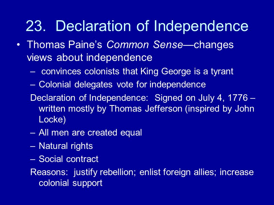 23. Declaration of Independence