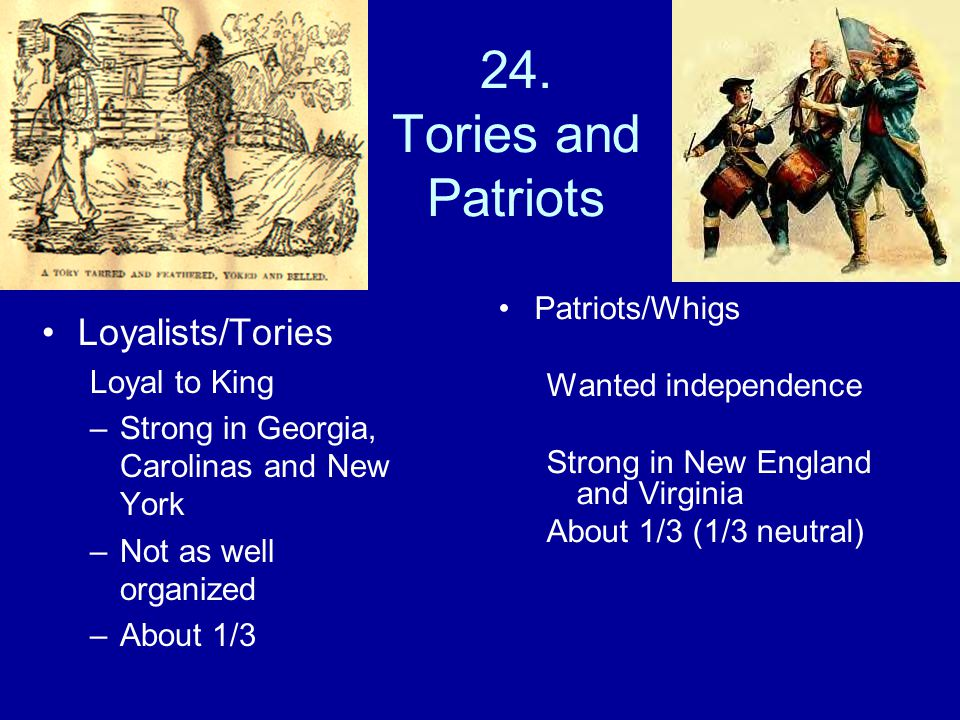 24. Tories and Patriots Loyalists/Tories Patriots/Whigs Loyal to King