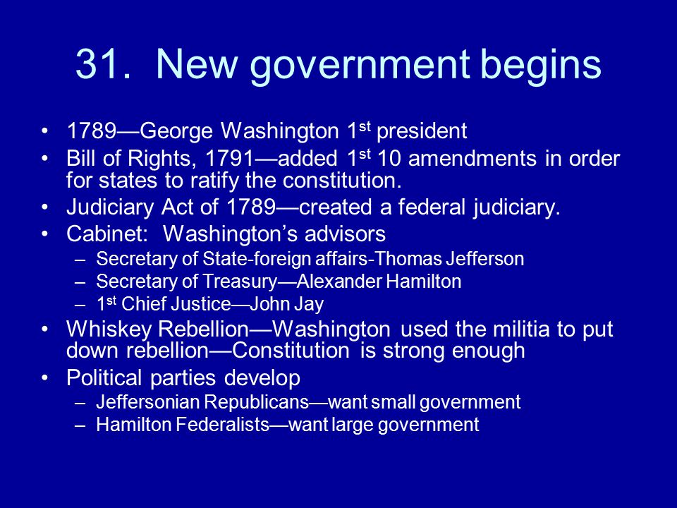 31. New government begins 1789—George Washington 1st president