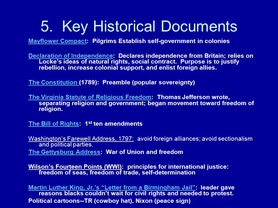 5. Key Historical Documents