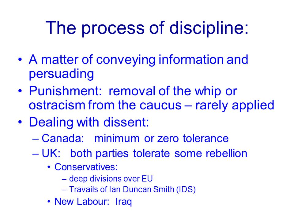 The process of discipline:
