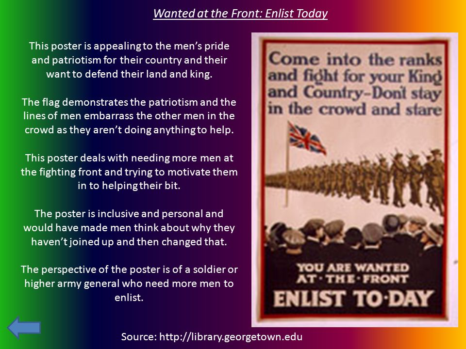 Wanted at the Front: Enlist Today