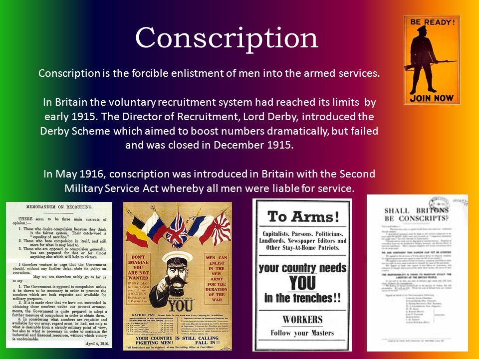 Conscription Conscription is the forcible enlistment of men into the armed services.