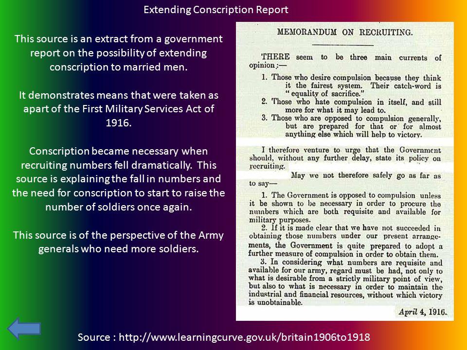 Extending Conscription Report