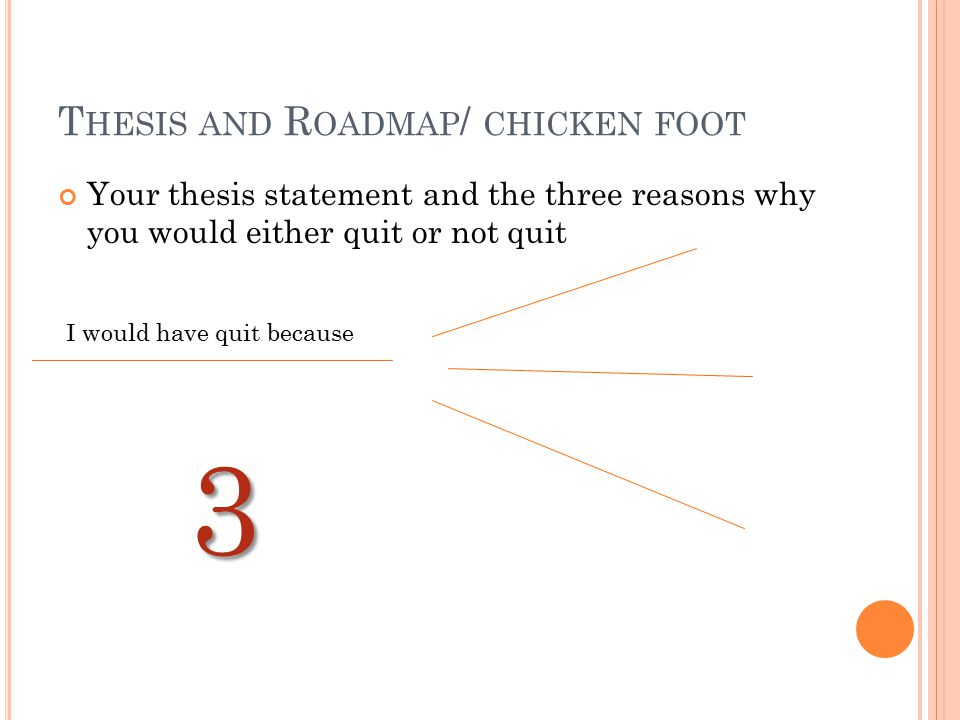 Thesis and Roadmap/ chicken foot