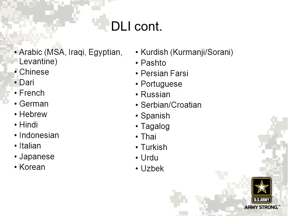DLI cont. Arabic (MSA, Iraqi, Egyptian, Levantine) Chinese Dari French