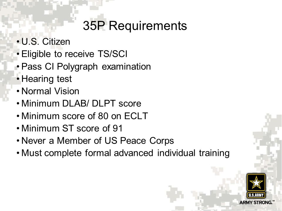 35P Requirements U.S. Citizen Eligible to receive TS/SCI
