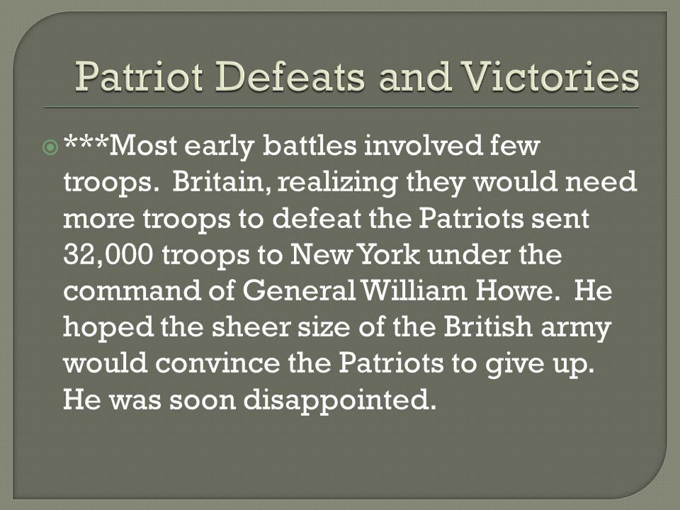 Patriot Defeats and Victories