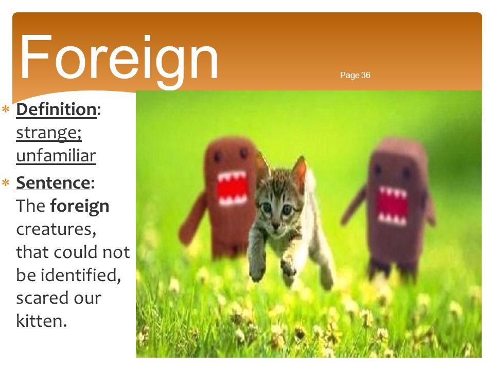 Foreign Page 36 Definition: strange; unfamiliar