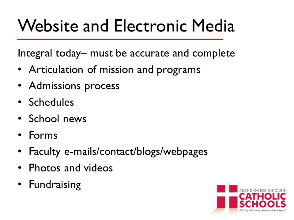 Website and Electronic Media