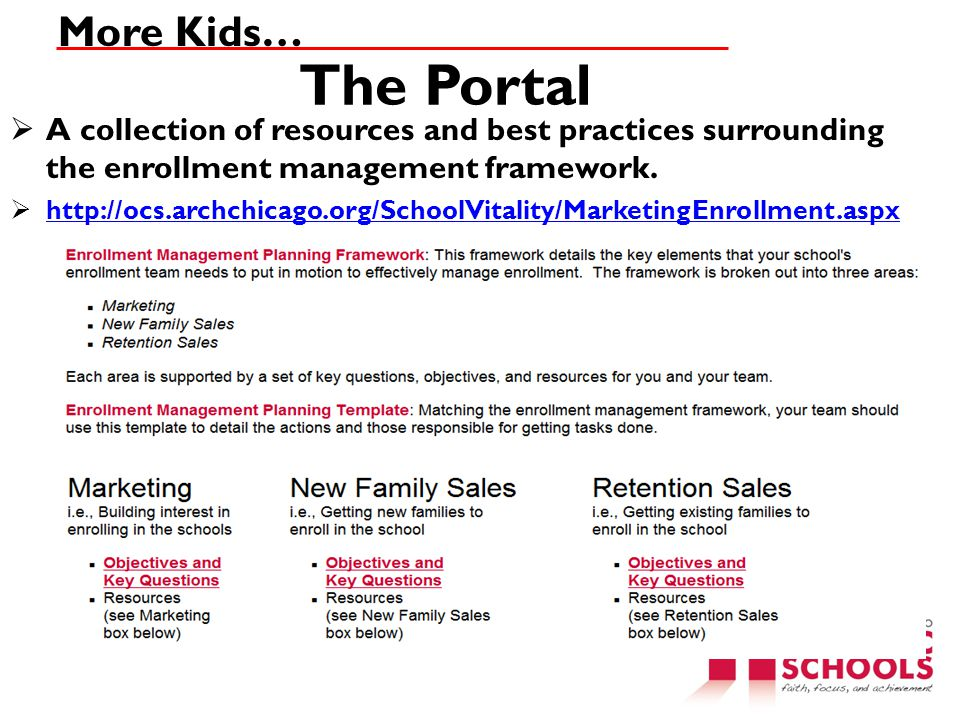 More Kids… The Portal. A collection of resources and best practices surrounding the enrollment management framework.