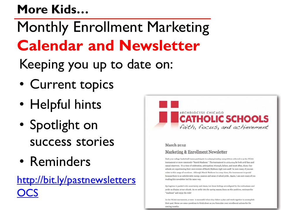 Monthly Enrollment Marketing Calendar and Newsletter