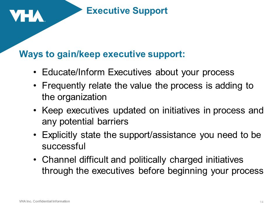Ways to gain/keep executive support: