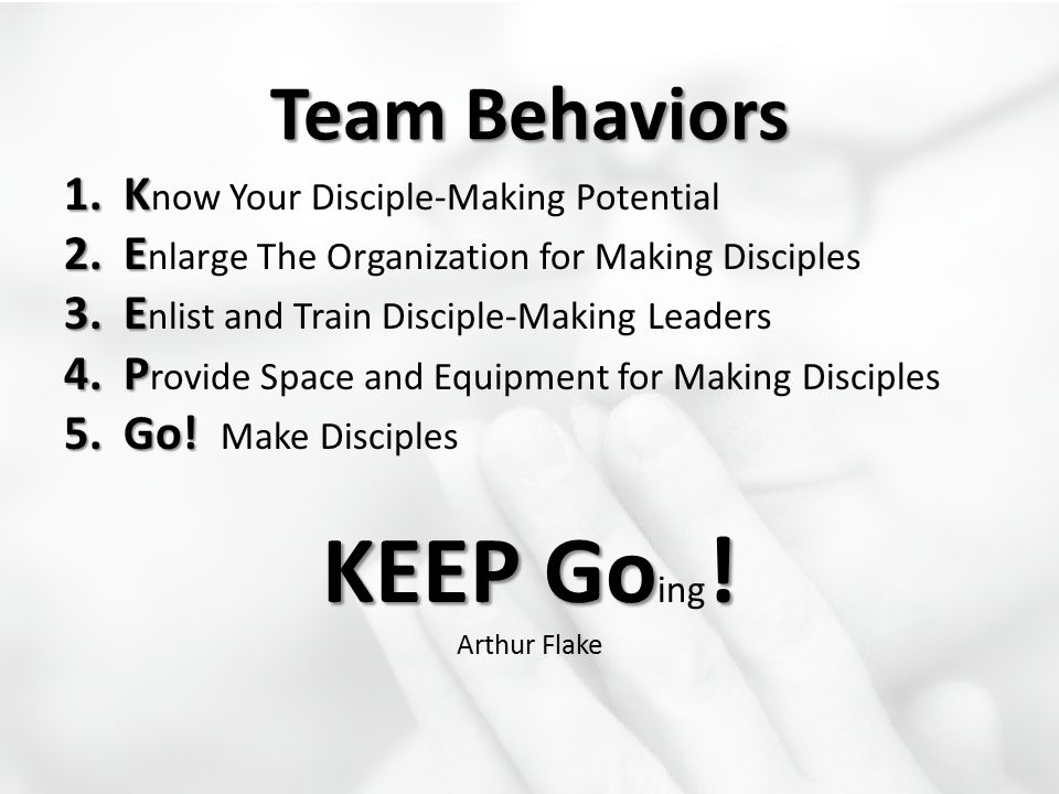 KEEP Going! Team Behaviors Know Your Disciple-Making Potential