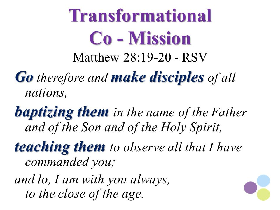 Transformational Co - Mission