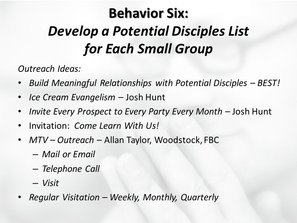 Behavior Six: Develop a Potential Disciples List for Each Small Group
