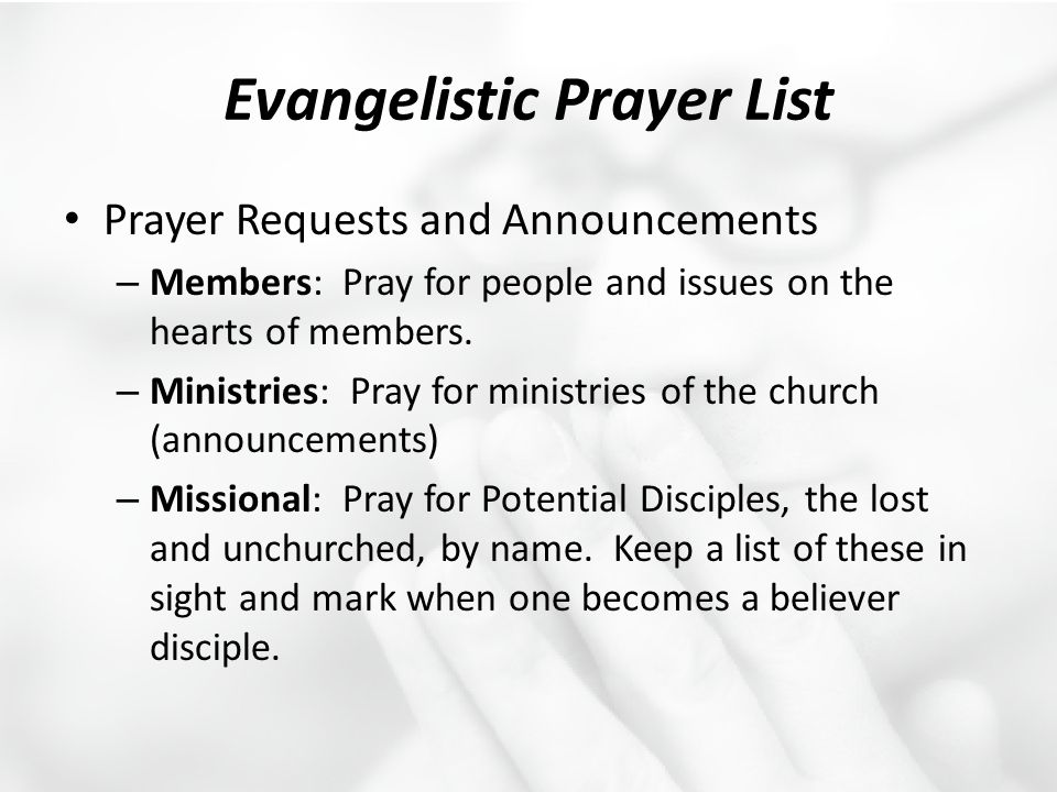 Evangelistic Prayer List