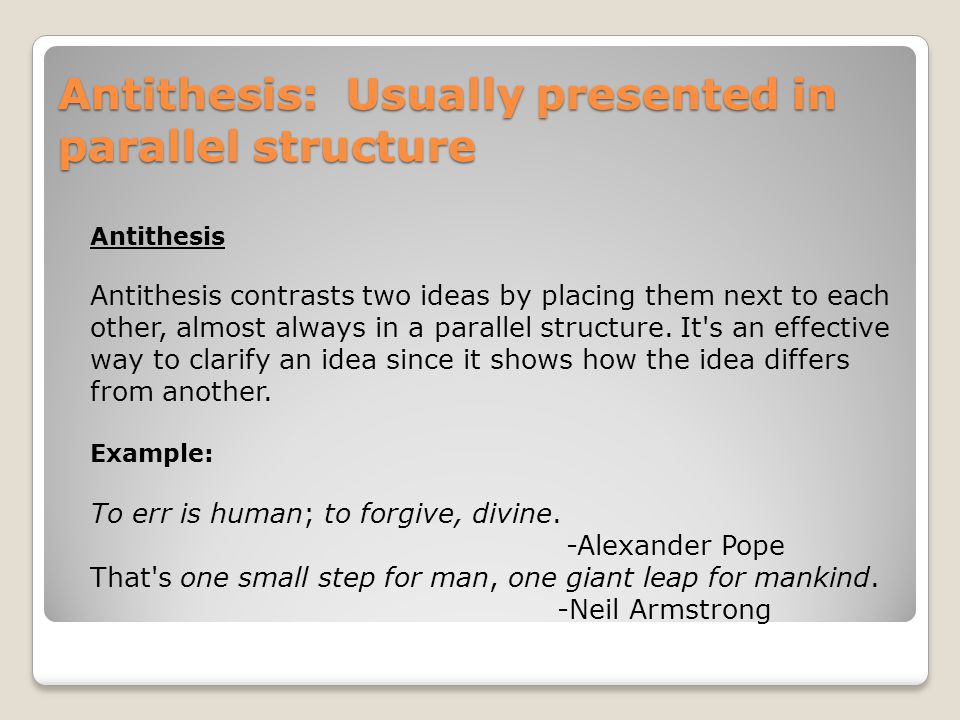 antithesis technique An analysis of the rhetorical techniques and figures of speech used by steve jobs in his 2005 stanford commencement his third major technique is antithesis.