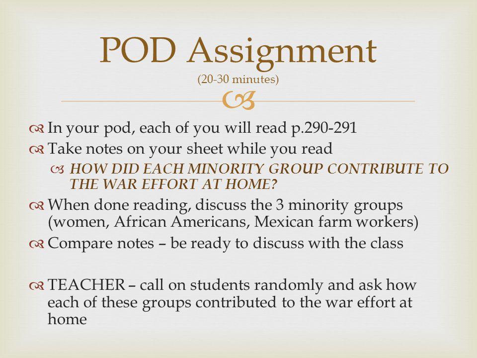POD Assignment (20-30 minutes)